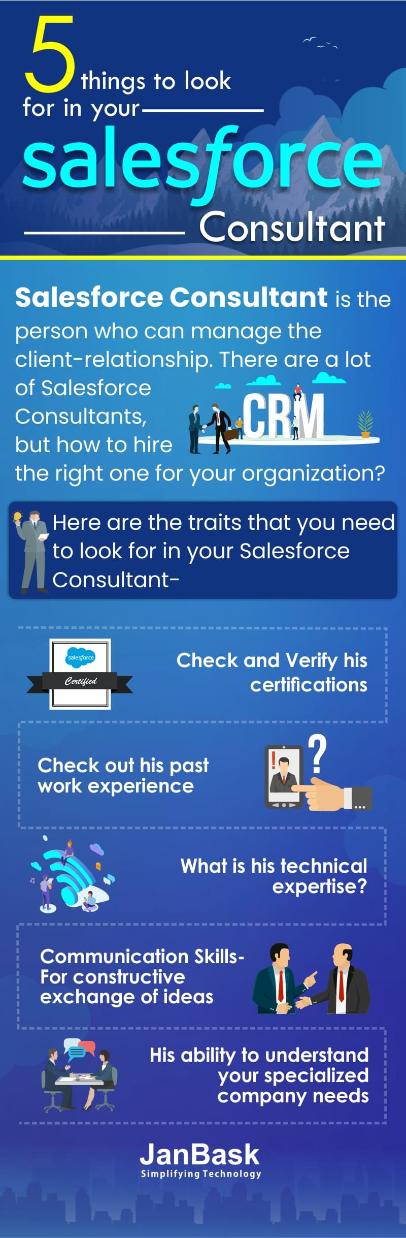 Infographic 5 Things to look for in your Salesforce Consultant